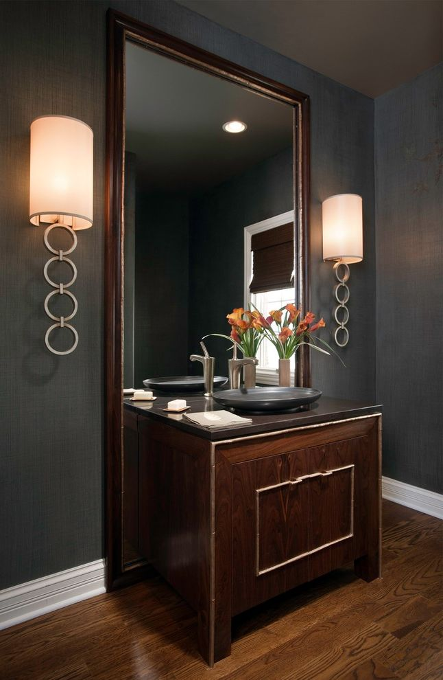 Cabin Wall Sconces with Contemporary Powder Room  and Black Wall Bowl Sink Dark Wood Mirror Dark Wood Vanity Floor Mirror Vessel Sink Wall Sconce White Molding White Trim