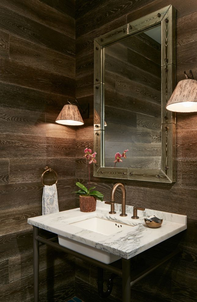 Cabin Wall Sconces with Rustic Powder Room Also Brown Chicago Eclectic Marble Rustic Contemporary Transitional Powder Room Urban Cabin Wall Sconces Wood Woodgrain