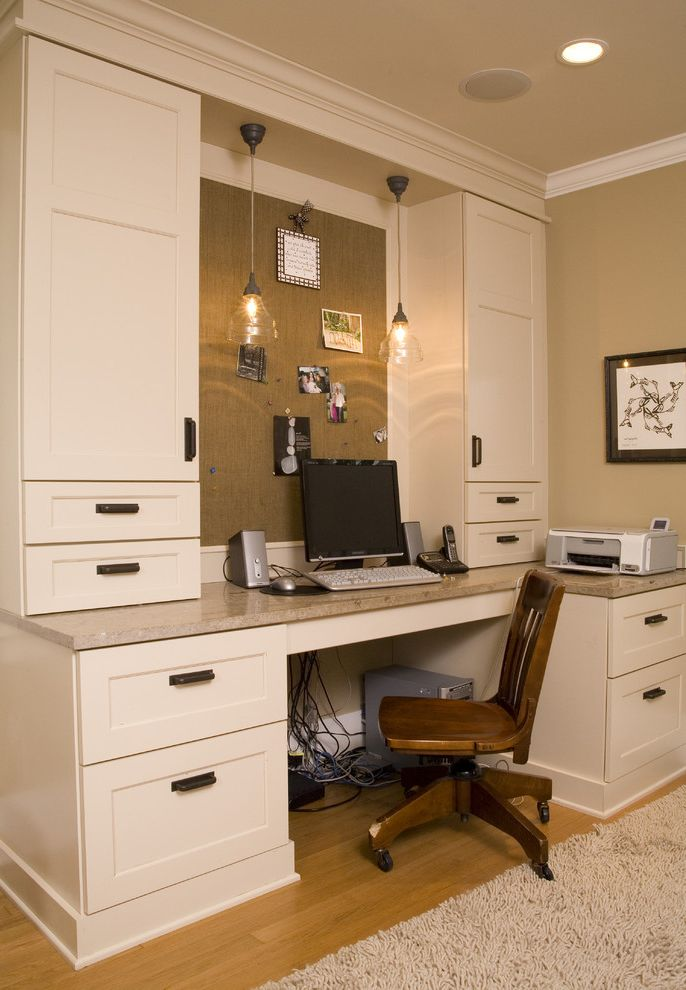 Cable Management Under Desk   Traditional Home Office  and Area Rug Built in Storage Built in Desk Bulletin Board Ceiling Lighting Crown Molding Pendant Lighting Recessed Lighting White Wood Wood Trim Wooden Desk Chair