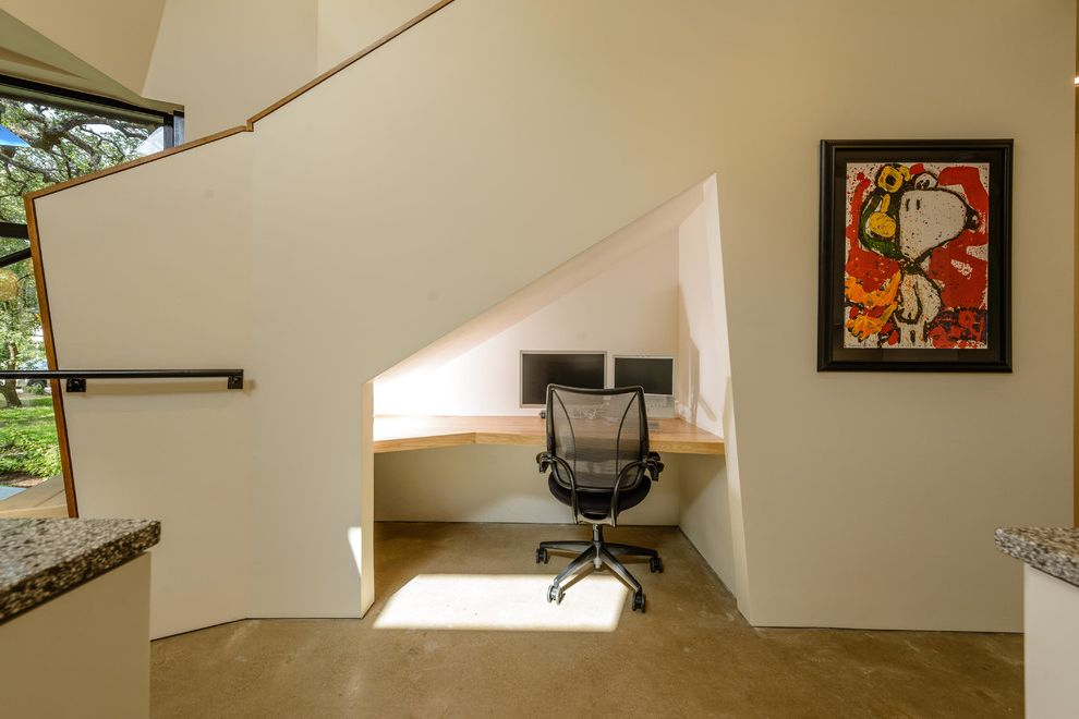 Cable Management Under Desk with Contemporary Home Office Also Built in Desk Cave Cove Minimalist Nook Office Under Stairs Office Under the Stairs Small Space Snoopy Task Chair Under Stairs Storage Under the Stairs Office Wood Countertop