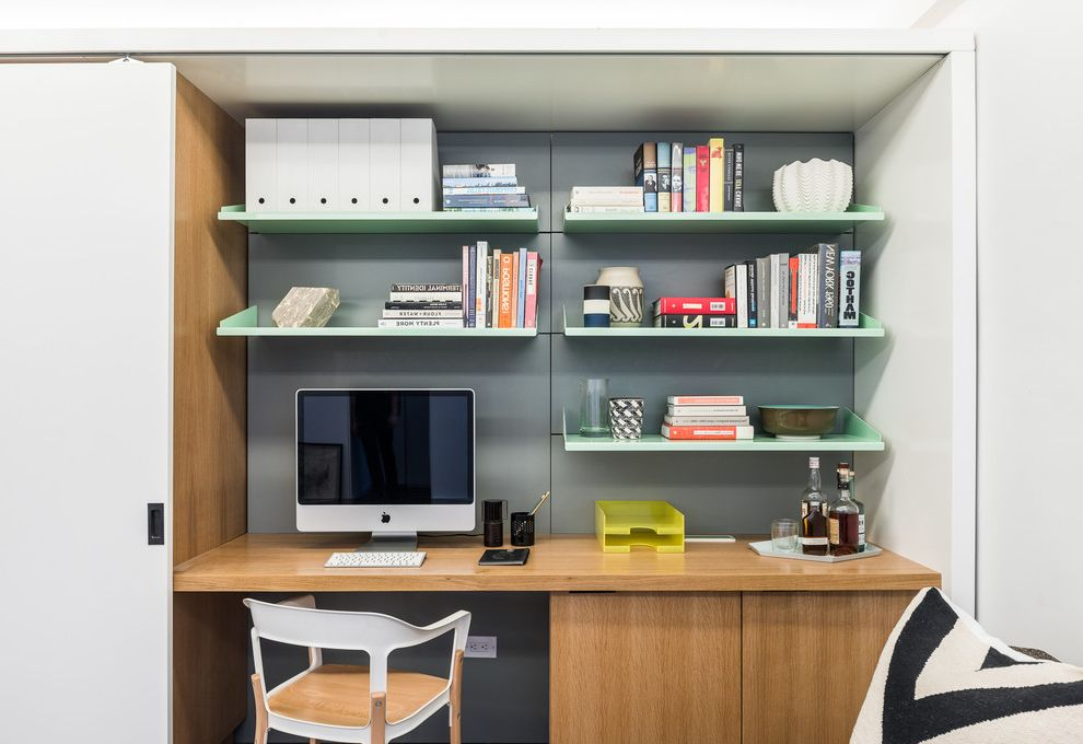 Cable Management Under Desk with Contemporary Home Office  and Compact Home Office Home Office Metal Shelving Office Alcove Sliding Door Small Desk Alcove