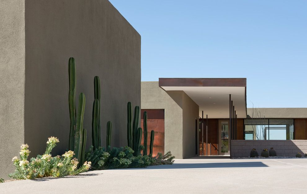 Cactus Forty 2   Modern Exterior  and Bridge Cactus Cantilever Concrete Patio Cool Desert Design Drought Tolerant Plants Entry Green Large Windows Modern Steel Sustainable