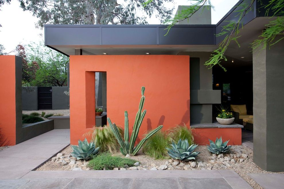 Cactus Forty 2 with Contemporary Exterior Also Cactus Column Cutout Flat Roof Metal Roof Mexican Thread Grass Mixed Plants Night Blooming Cereus Path Pavers Pea Gravel Red Wall Retaining Wall Rip Rap Side Garden Walkway