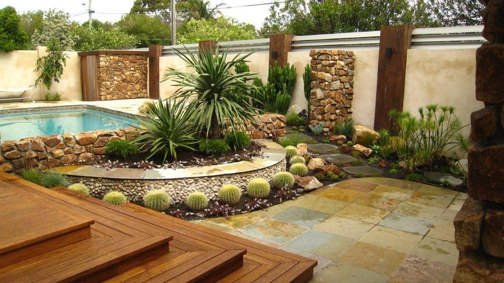 Cactus Forty 2 with Contemporary Landscape  and Cacti Cactus Garden Garden Wall Path Pool River Rock Slate Stepping Stones Stonework Succulent Plants Wood Steps