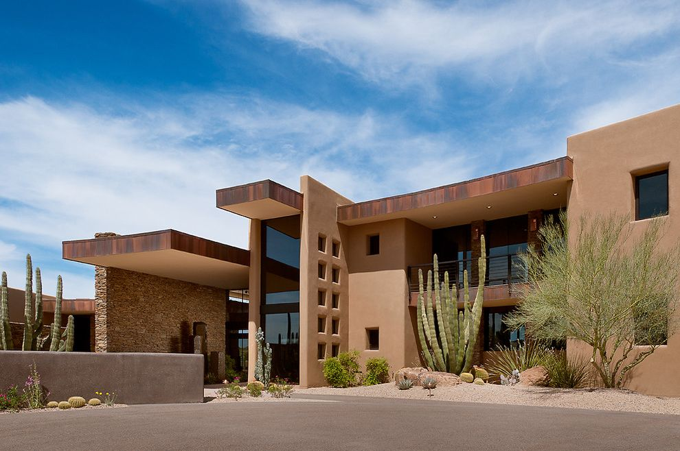 Cactus Forty 2 with Southwestern Exterior Also Arid Landscape Cactus Desert Modern Entrance Entry Metal Trim Oxidized Pueblo Roof Overhang