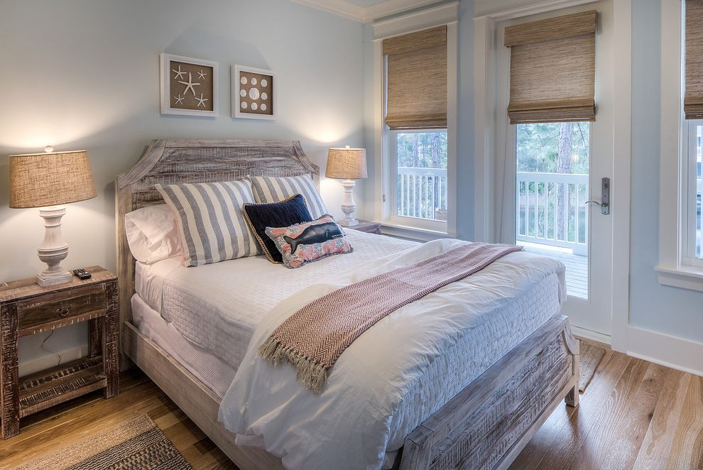 Caldera Springs Rentals   Beach Style Bedroom Also Beach House Chevron Throw Blanket Distressed Nightstand Gray Walls Roman Shades Symmetry White Bedding White Quilt White Sheets Wood Floors