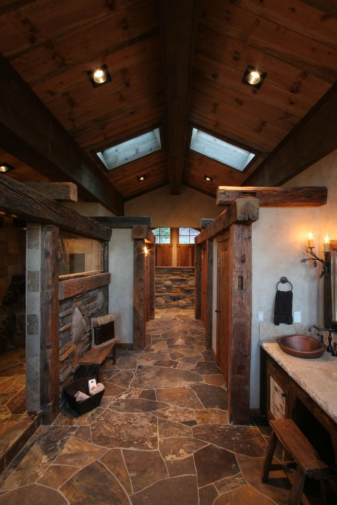 Caldera Springs Rentals   Rustic Bathroom  and Beige Countertop Cathedral Ceiling Recessed Lighting Reclaimed Wood Rustic Wood Beams Skylights Wall Sconces Wood Ceiling Wood Columns