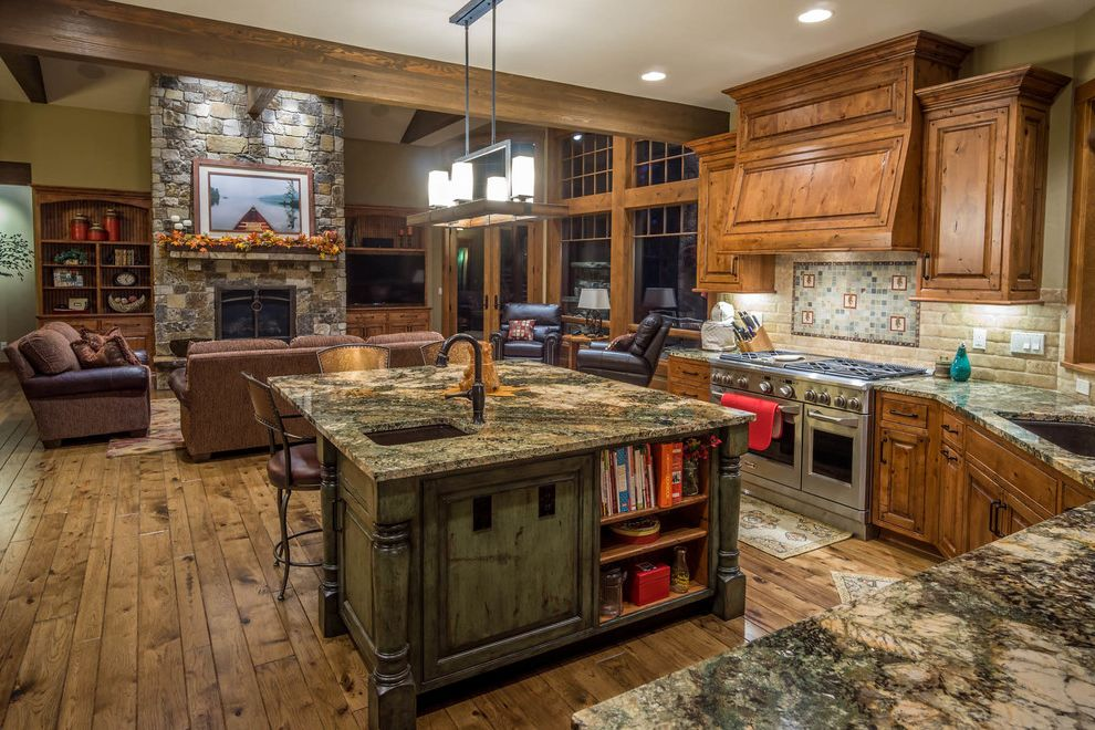 Caldera Springs Rentals with Rustic Kitchen  and Alder Cabinets Beams Hickory Floor Rustic Kitchen