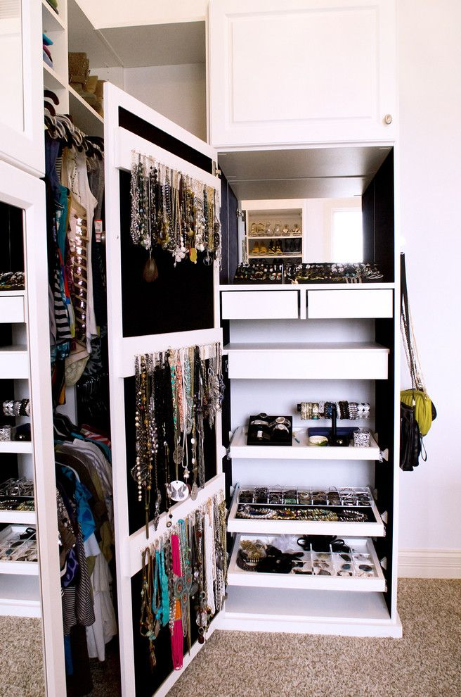 California Closets Seattle   Traditional Closet Also Bracelet Holder Cabinet Door Storage Custom Closet Drawer Dividers Jewelry Closet Jewelry Organizer Jewelry Storage Necklace Hooks Necklace Rack Pullout Drawers Walk in Closet White Closet