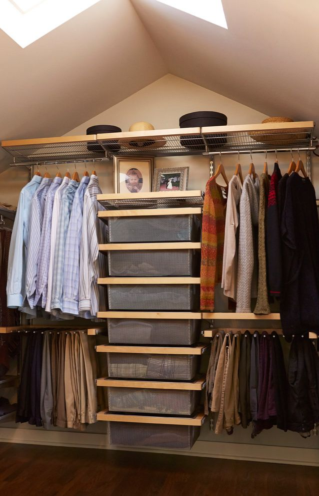 California Closets Seattle   Traditional Closet  and Attic Hanging Clothes Storage Open Shelves Skylight Wire Shelves
