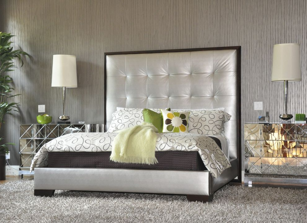 California King Bed Frame and Headboard   Contemporary Bedroom Also Bedside Table Decorative Pillows Metallic Mirrored Furniture Neutral Colors Nightstand Platform Bed Table Lamps Throw Pillows Tufted Headboard Upholstered Headboard Wallcoverings