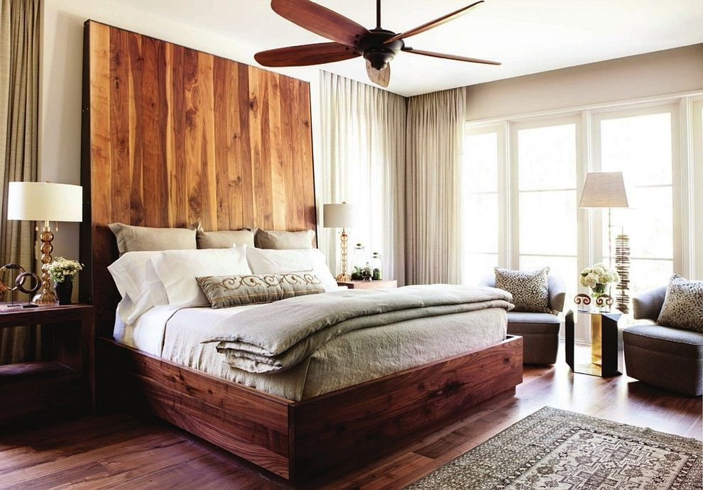 California King Bed Frame and Headboard   Modern Bedroom Also Drum Shades Natural Wood Headboard Recessed Curtain Track Seating Area Tall Headboard Unfinished Wood Headboard White Curtains Wood Floor Wooden Bed Wooden Ceiling Fan Wooden Headboard