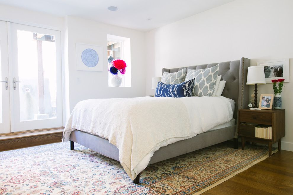 California King Bed Frame and Headboard with Contemporary Bedroom  and Dark Wood Nightstand French Doors Glass Doors Gray Bed My Houzz Nailhead Trim Tufted Headboard Upholstered Bed Upholstered Headboard