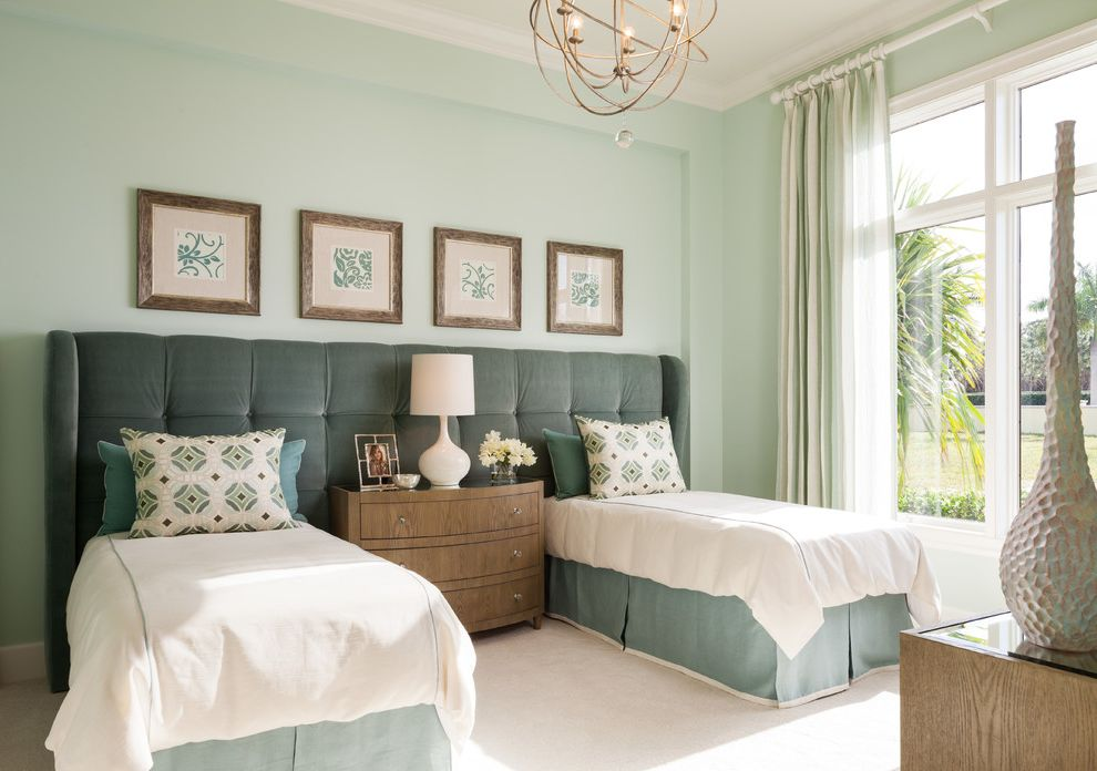 California King Bed Frame and Headboard with Transitional Bedroom Also Bed Skirt Bedding Chandelier Curtain Double Beds Framed Art Mint Green Nighstand Table Lamp Tufted Headboard Twin Beds Windows