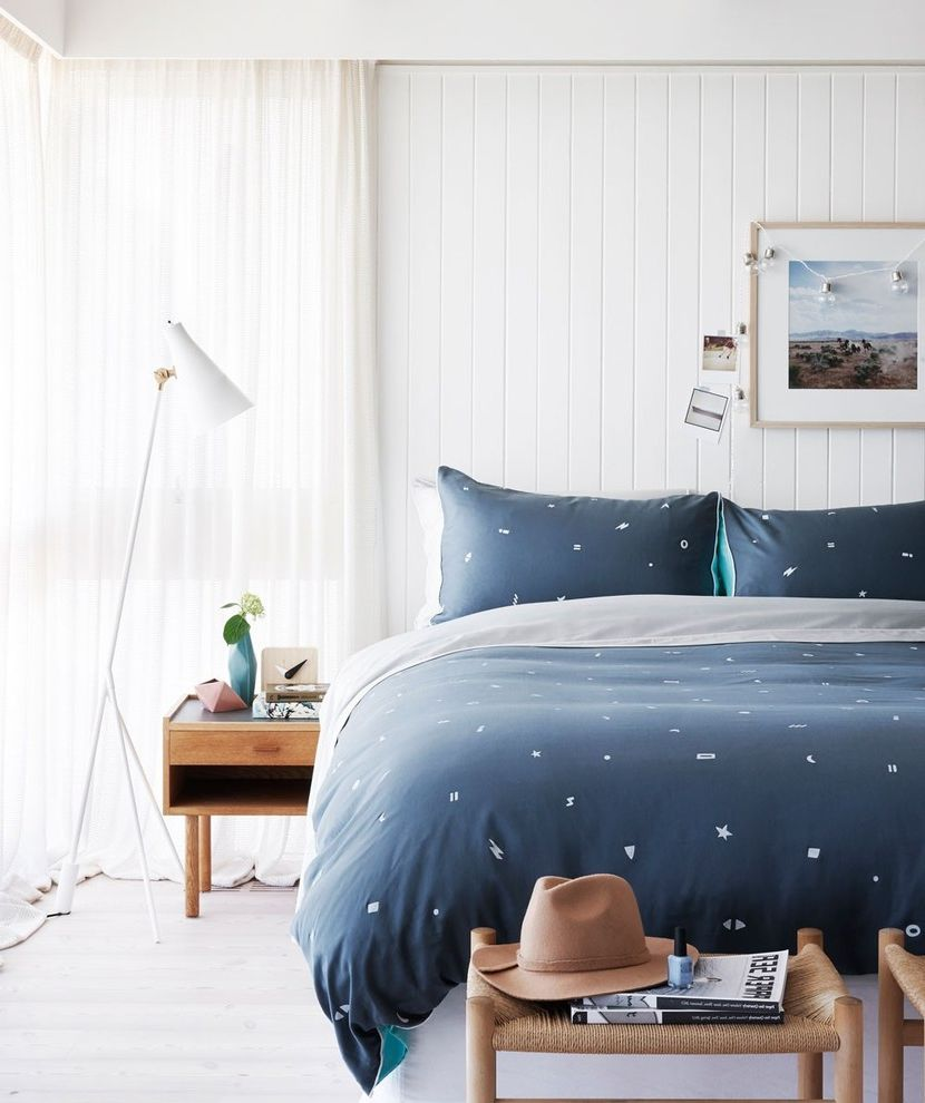 California King Quilt Sets   Contemporary Bedroom  and Art Print Bedding Bedroom Contemporary Bedroom Floor Lamp Modern Floor Lamp Navy Blue Navy Blue Bedroom Neutral Panelling Timber Side Tables Wall Panelling White Floor Lamp White Walls