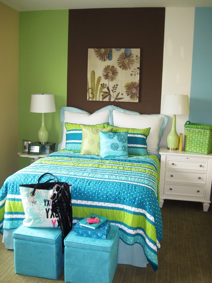 California King Quilt Sets   Contemporary Kids  and Accent Wall Bedroom Bedside Table Bold Colors Bright Colors Decorative Pillows Foot of the Bed Nightstand Storage Cubes Striped Wall Throw Pillows Vertical Stripes Wall Art Wall Decor
