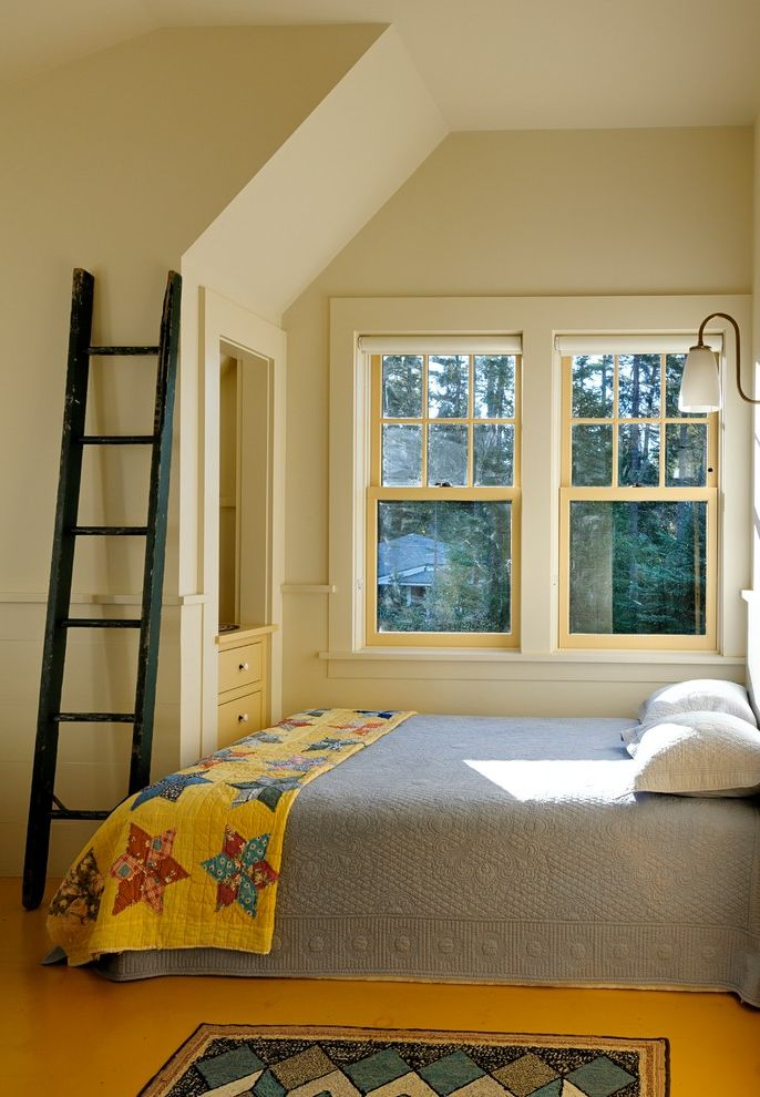 California King Quilt Sets with Rustic Bedroom Also Built in Drawers Chair Rail Double Hung Windows Gooseneck Hooked Rug Ladder Quilt Roller Blinds Wainscot Wall Sconce