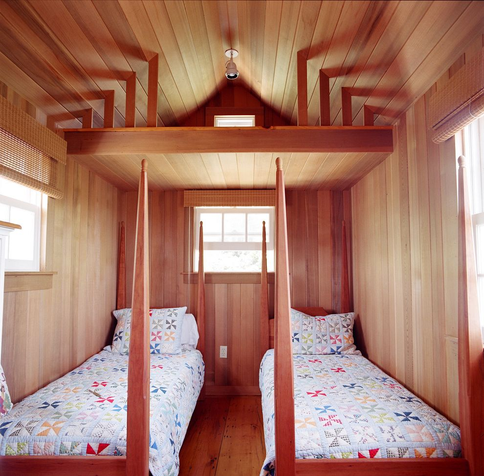 California King Quilts with Traditional Bedroom Also Cabin Four Poster Beds Loft Patchwork Quilts Shared Bedroom Sloped Ceiling Small Bedroom Twin Beds Vaulted Ceiling Wood Ceiling Wood Flooring Wood Paneling