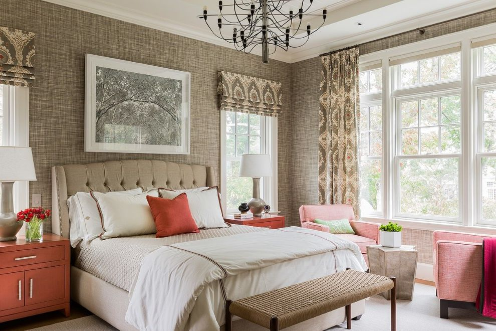 California King Size Bed Dimensions   Transitional Bedroom  and Cape Cod Chandelier Cream Flat Roman Shades Framed Art Nailhead Trim Red Accents Tufted Headboard Upholstered Headboard White Bedding Woven Bench