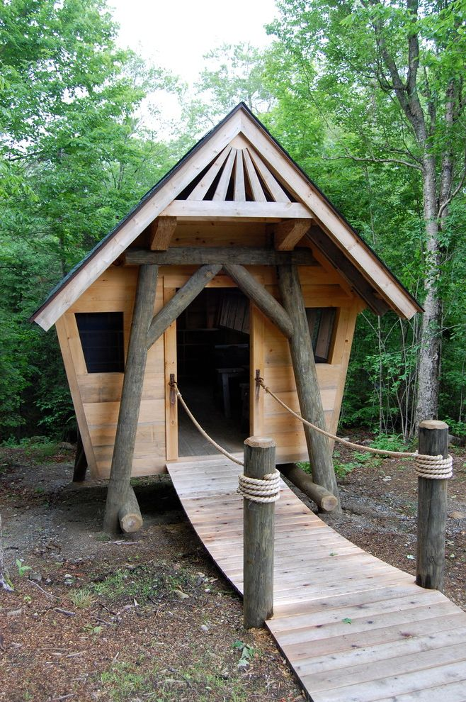 Camp Lejeune Housing   Eclectic Exterior Also Gable Roof Play House Wooden Bridge