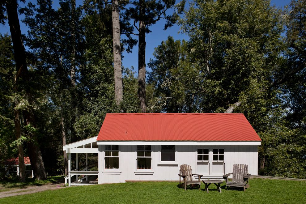 Camp Lejeune Housing   Farmhouse Exterior Also Adirondack Chairs Cabin Corrugated Metal Cottage Farm Farmhouse Red Roof Rustic Wood White Painted Wood