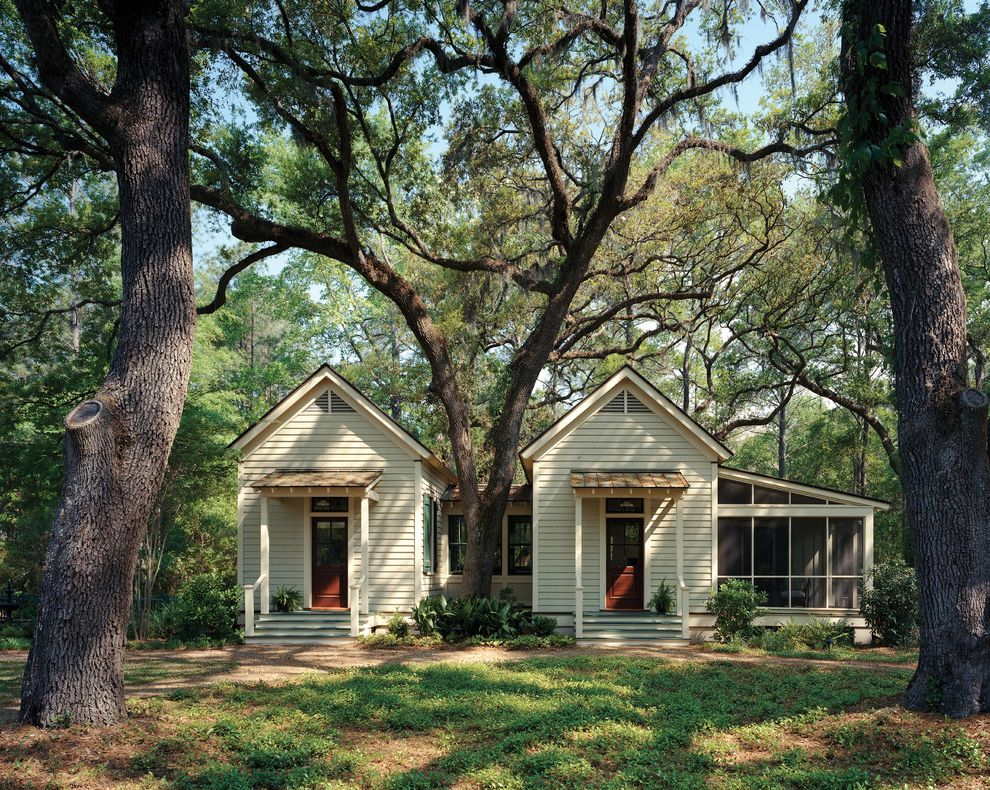 Camp Lejeune Housing   Traditional Exterior  and Coastal Landscape Compound Cottage Guest House Lap Siding Lowcountry Metal Roof