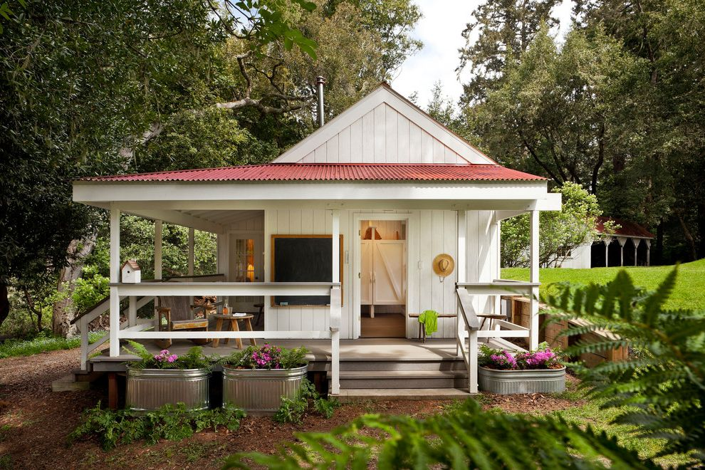 Camp Lejeune Housing with Farmhouse Exterior  and Cabin Corrugated Metal Cottage Farm Farmhouse Metal Planters Porch Red Roof Rustic Wood Stock Tanks White Painted Wood