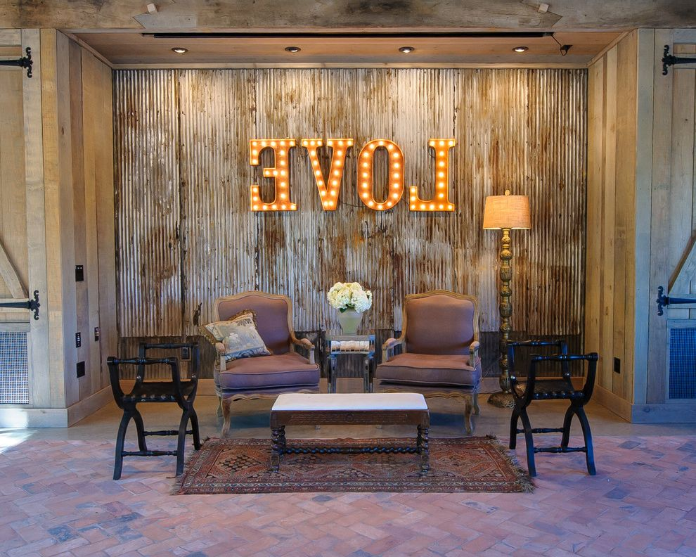 Camp Lucy Dripping Springs   Farmhouse Living Room  and Barn Barn Party Barn Wood Corrugated Metal French Chairs Love Art Love Sign Re Purposed Barn Rough Luxe Rusted Corrugated Metal Rustic Rustic Luxe Vintage Letters