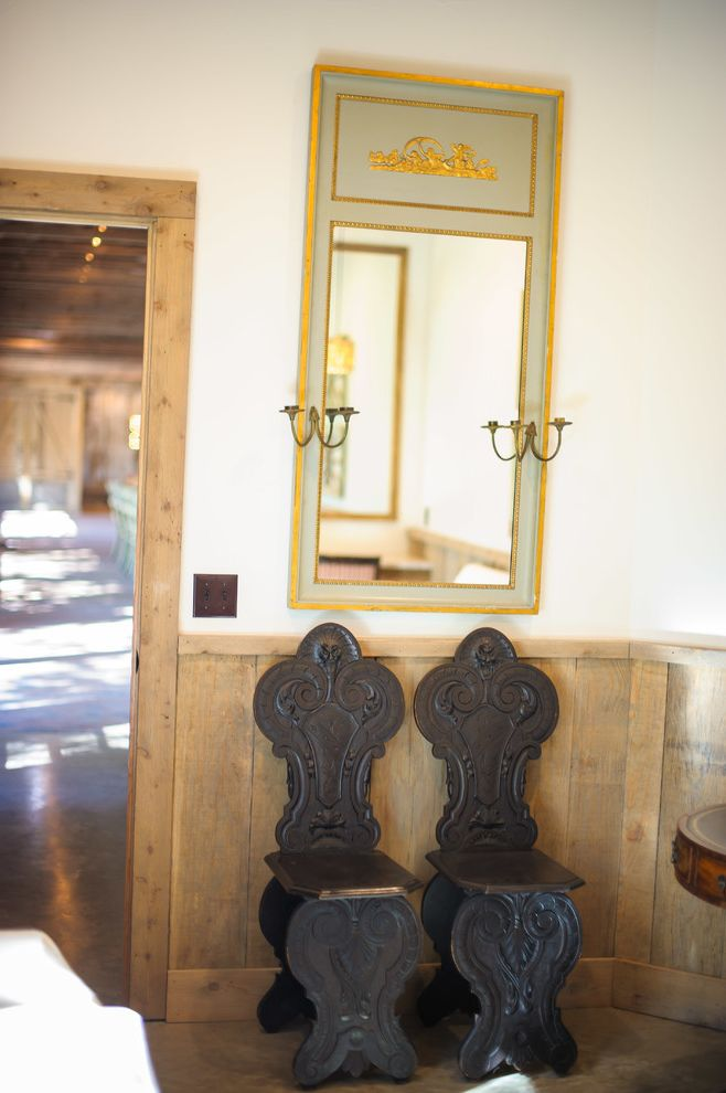 Camp Lucy Dripping Springs   Rustic Living Room Also Alder Door Antiques Concrete Floor Decorative Mirror Hall Chairs Mirror Trumeau Mirror Wainscot