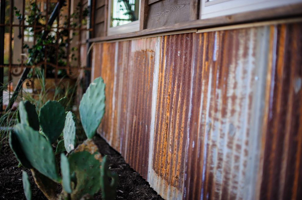 Camp Lucy Dripping Springs with Rustic Exterior  and Desert Landscape Metal Metal Siding Rusted Corrugated Metal Rusted Metal