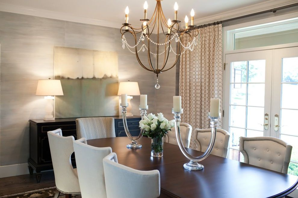Candle Covers for Chandeliers with Transitional Dining Room Also Transitional