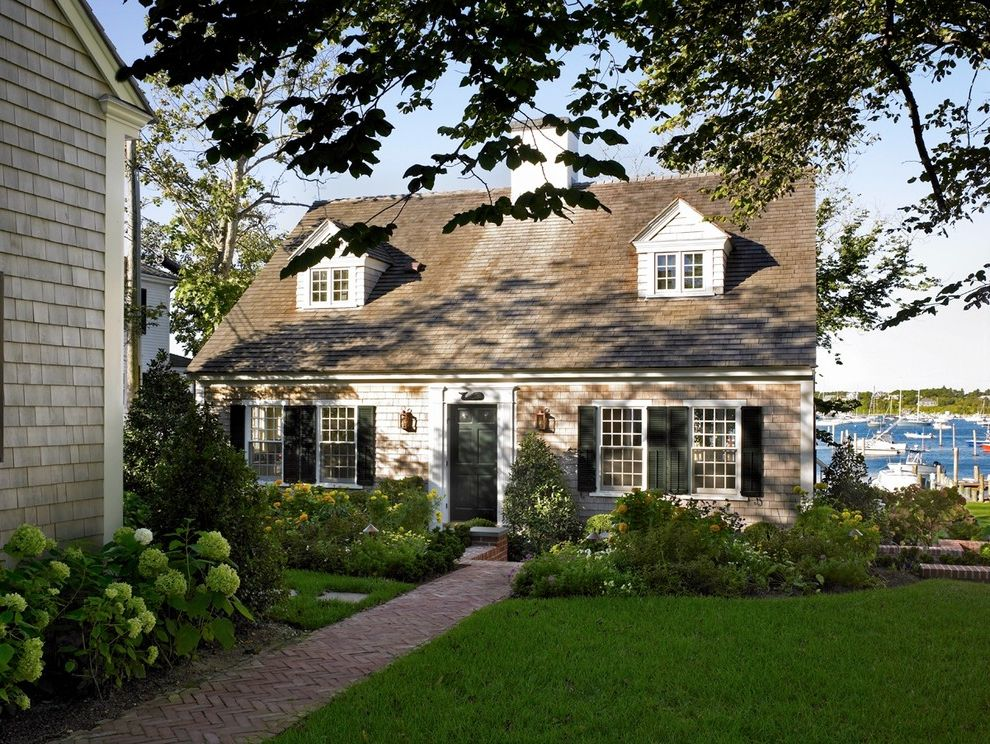 Cape Cod Lumber   Beach Style Exterior  and Brick Path Brick Walk Cape Cod Style Edgartown Entry Gable Dormers Guest House Harborview Historic Louvered Shutters Marthas Vineyard Patrick Ahearn Shingle Shutters Summer Home