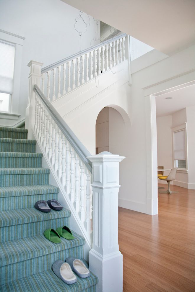 Capture Carpet Cleaner Home Depot with Transitional Staircase  and Arch Carved Spindles Edwardian Foyer Hall Hanging Newel Post Riser Sculpture Striped Carpet Striped Staircase Tread White Banister White Staircase