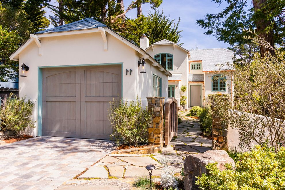 Car Donations Denver   Traditional Garage  and Blue Green Trim Blue Trim Clipped Gable Custom Gate Front Gate Greywashed Garage Olive Trees Stone Wall Whitewashed Garage