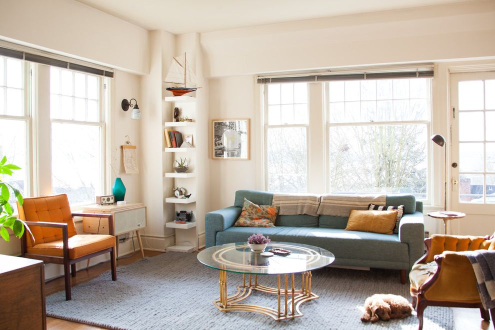 Car Donations Denver with Eclectic Living Room  and Blue Couch Clean Lines Floating Shelves House Plants Knit Rug Mid Century Modern Mid Century Modern Sofa Queen Anne Seattle Venetian Blinds Vintage Furniture