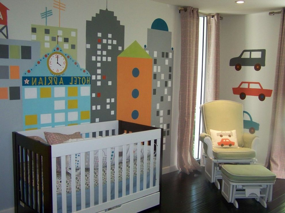 Car Donations Denver with Modern Nursery  and Baby Bedding Curtains Dark Floor Drapes Glider Chair Ideas for Baby Boy Nursery Modern Crib Modern Nursery Nursery Skyline Under Bed Storage Wall Mural Window Treatments