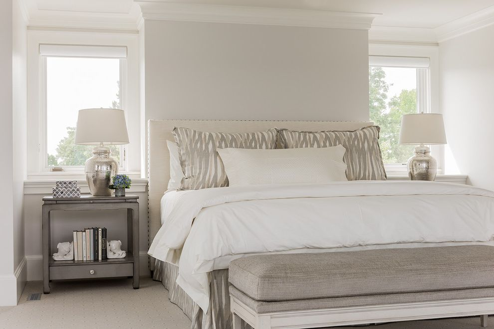 Carpet Cleaning Brooksville Fl with Beach Style Bedroom Also Beige Carpet Beige Headboard Gray Bench Gray Nightstand Nailhead Trim Silver Table Lamp