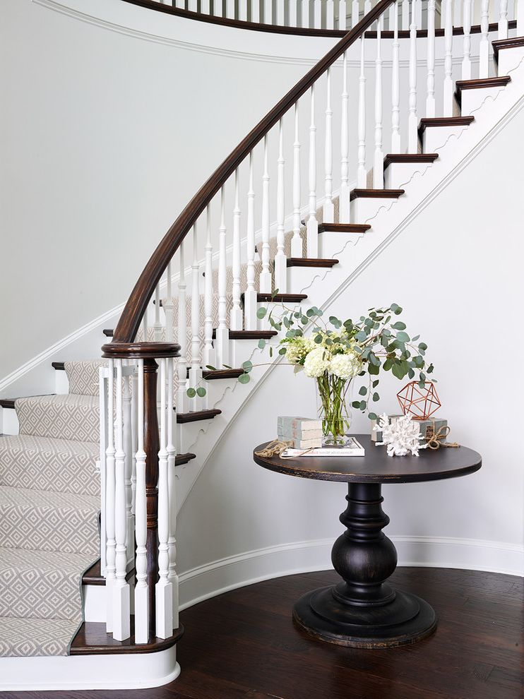 Carpet Cleaning Stillwater Ok   Traditional Staircase Also Casual Elegance Curved Staircase Custom Runner Foyer Table Geometric Carpet Geometric Runner Grand Foyer Hall Table Round Table Staircase Two Story Foyer White Risers