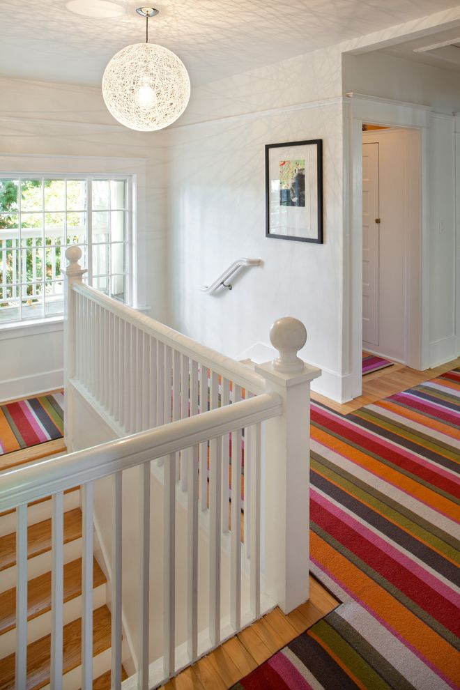 Carpet Cleaning Sunnyvale Ca   Eclectic Staircase  and Baseboards Colorful Rug Globe Pendant Modern Icons Pendant Lighting Striped Rugs Wall Decor White Wood Wood Molding Wooden Staircase