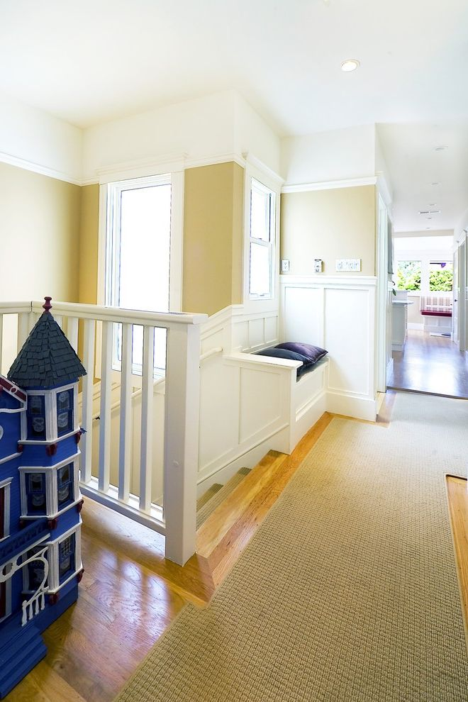 Carpet Cleaning Sunnyvale Ca   Traditional Hall Also Banister Built Ins Carpet Runner Ceiling Lighting Crown Molding Doll House Handrail Jute Rug Recessed Lighting Staircase Wainscoting White Wood Window Seat Wood Flooring Wood Railing Wood Trim