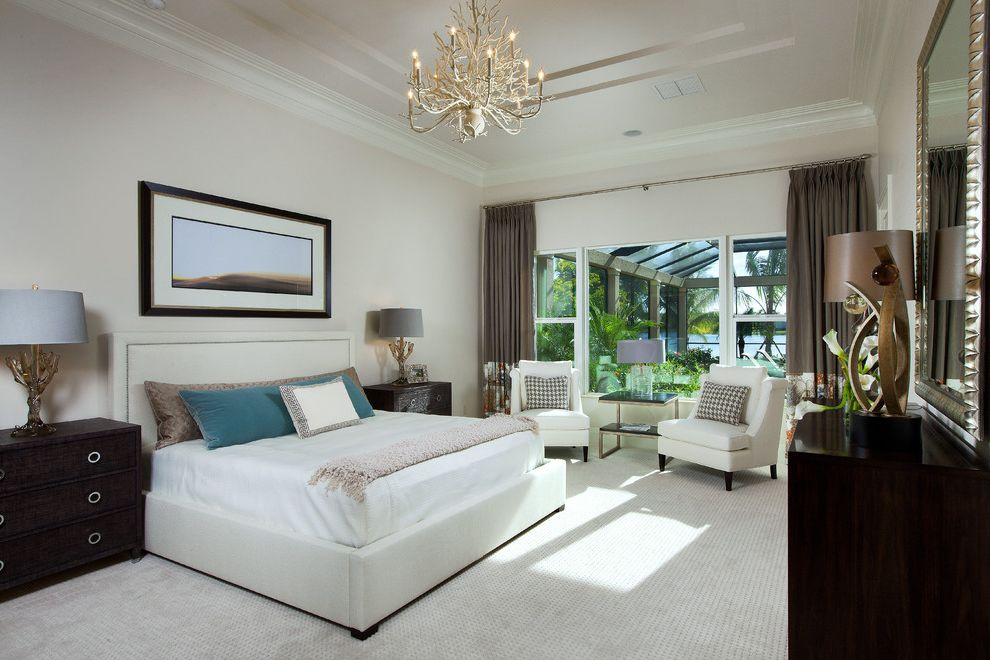 Carpet Cleaning Sunnyvale Ca   Transitional Bedroom  and Armchair Bedding Carpet Chandelier Crown Molding Elegant Mirror Side Table White White Armchair White Bed White Carpet