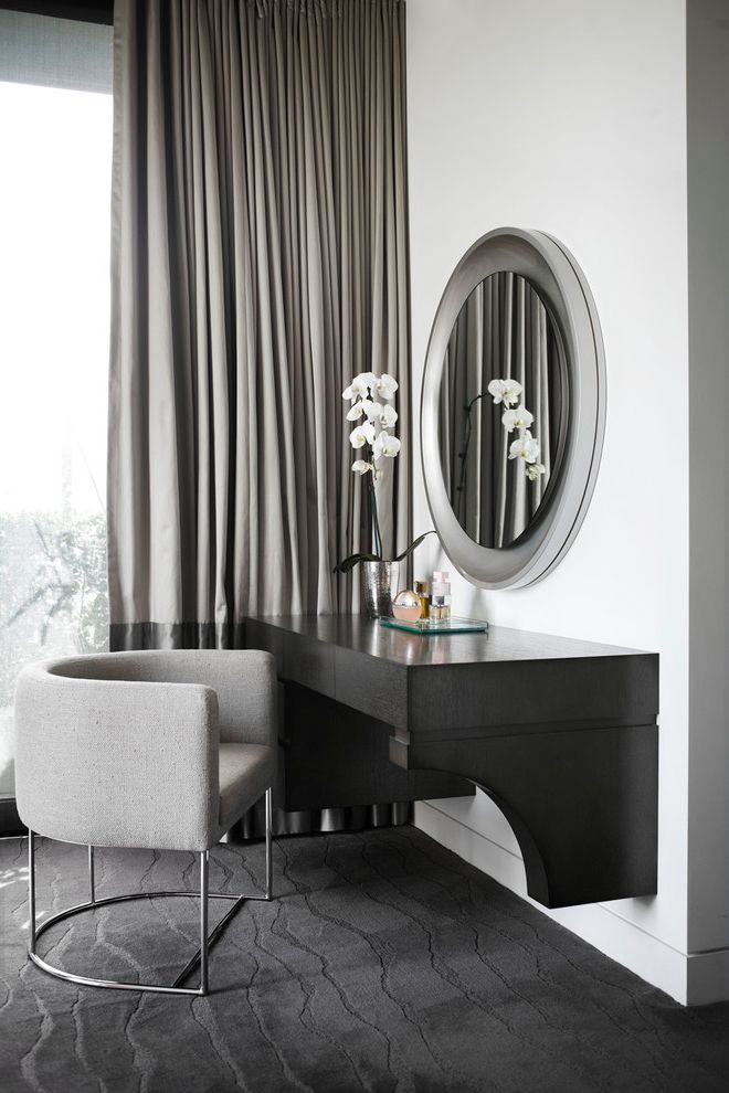 Carpet One Columbia Sc   Contemporary Bedroom  and Chrome Leg Arm Chair Curtain Panel Floating Desk Gray Sculpted Carpeting Orchids Perfume Round Mirror White Walls Window Treatment
