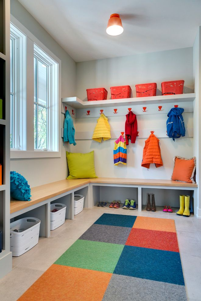 Carpet One Columbia Sc with Contemporary Entry  and Area Rug Bench Seating Colorful Family Friendly Kids Toy Storage Orange Pop of Color Red Coat Hangers White Baskets Windows