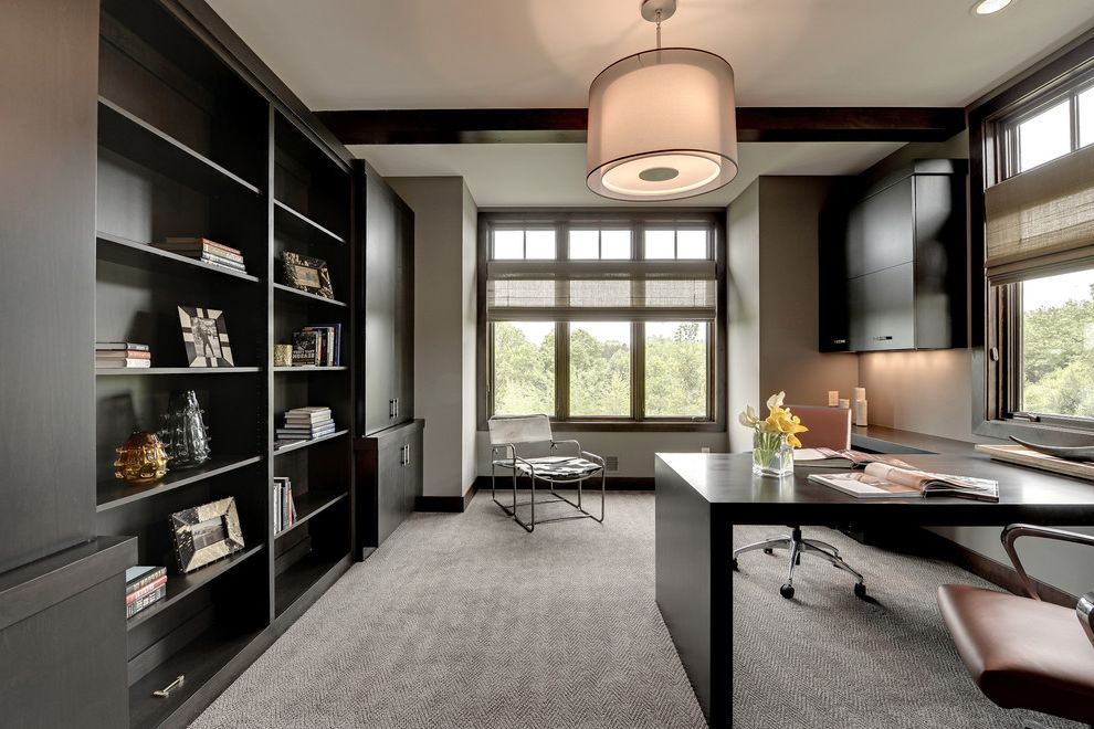Carpet Padding for Sale with Transitional Home Office  and Built in Bookshelves Built in Desk Drum Shade Pendant Gray Carpet Herringbone Pattern Carpet Neutral Color Scheme Shared Desk Shared Office Task Chairs