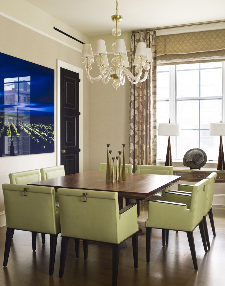 Carpet Squares Lowes   Contemporary Dining Room  and Art Chandelier Dark Stained Wood Drapes Roman Shade Sage Green Chairs Square Dining Table Tall Ceilings Upholstered Dining Chair Windows Treatment Wood Floor