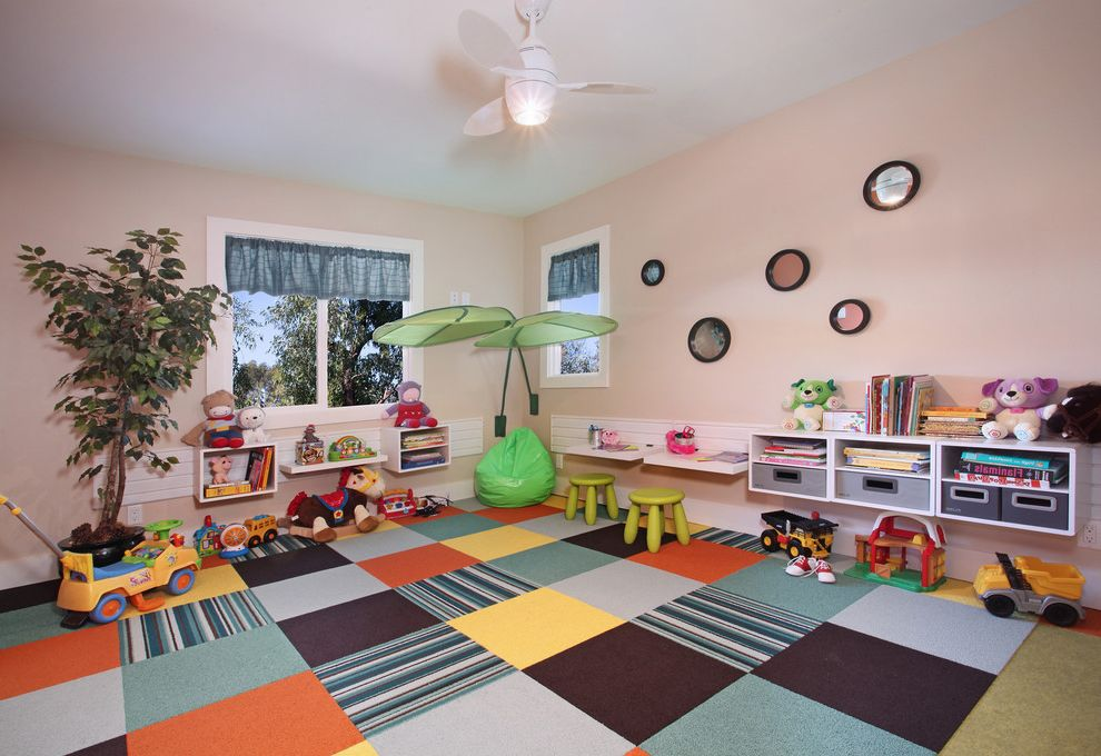 Carpet Squares Lowes   Contemporary Kids Also Ceiling Fan Craft Room Cubbies Kids Room Organization Organize Pink Walls Play Room Playroom Shelf Shelves Storage Toy Storage
