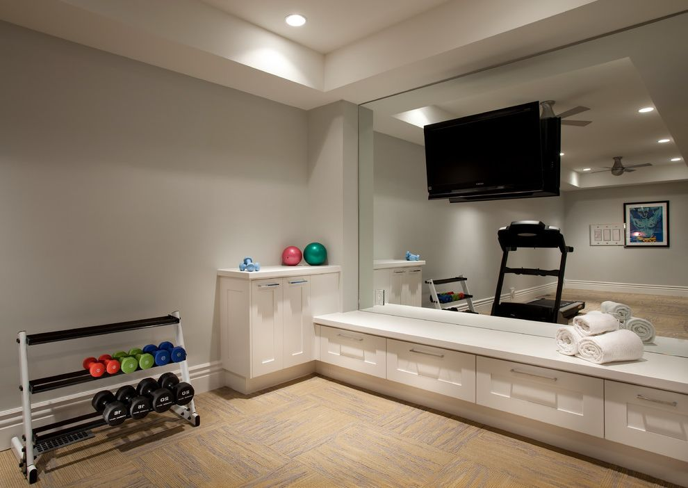 Carpet Squares Lowes   Transitional Home Gym Also Coffered Ceiling Exercise Room Mirror Wall Mounted Tv Weight Rack White Cabinet