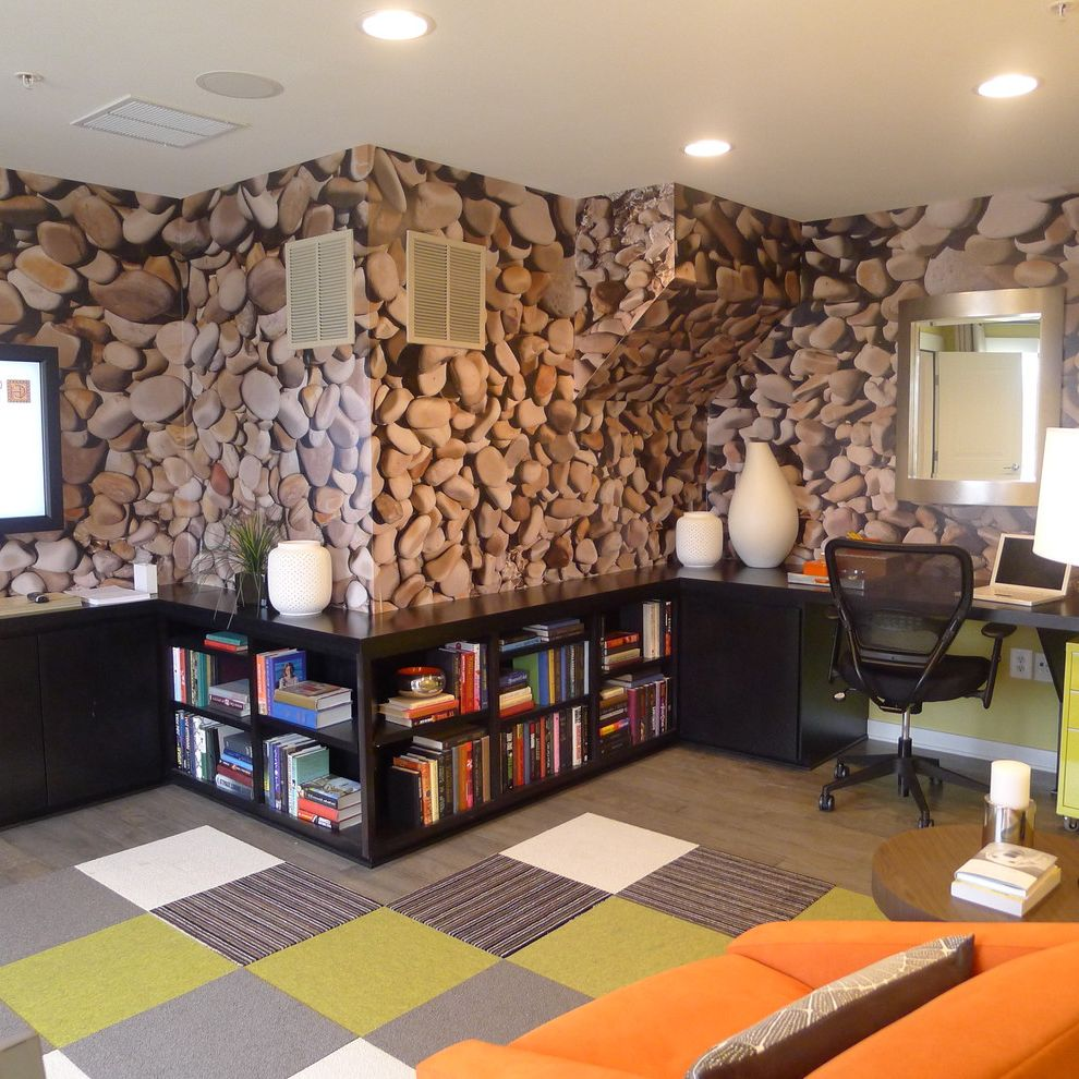 Carpet Squares Lowes with Contemporary Home Office Also Bookshelf Carpet Tiles Custom Woodwork Dark Stained Wood Flor Tiles Gray Green Mirror Orange Arm Chair Stones Wallpaper Wood Floor Work Area