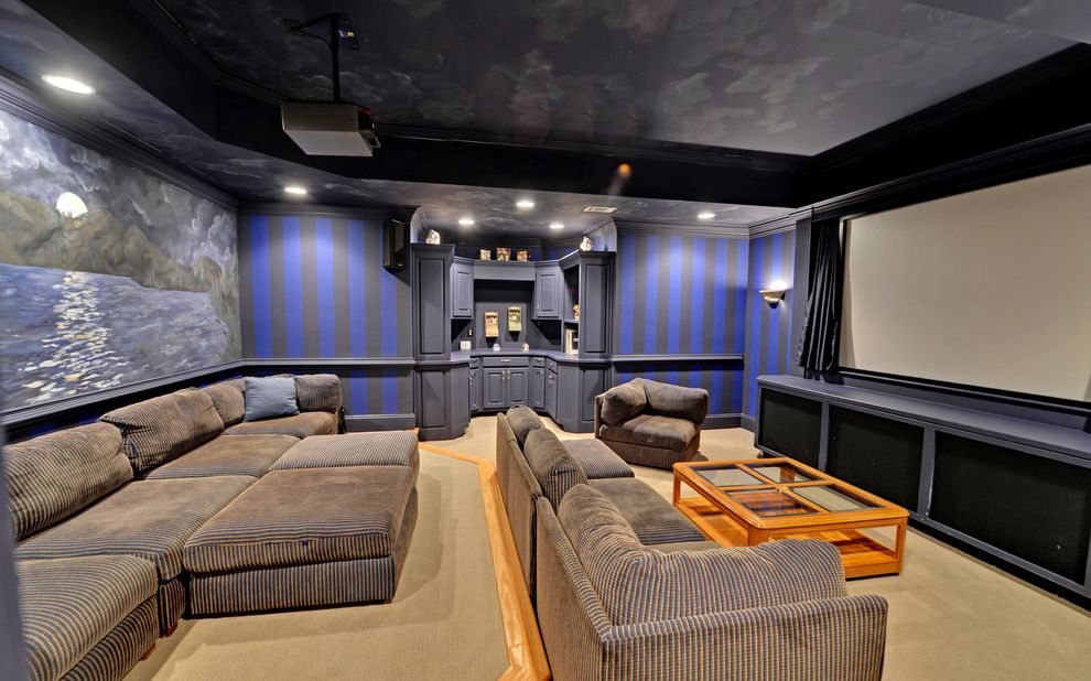Carpet World Albany Ga with Traditional Home Theater  and Alcove Blue and Black Built in Cabinets Carpet Ceiling Art Coffee Table Projection Screen Projector Recessed Lighting Sectional Sofa Striped Wall Tray Ceiling Wall Art
