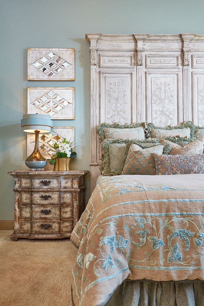 Carpet World Bismarck Nd   Traditional Bedroom  and Distressed Nightstand Italian Villa Luxury Old World Style House Wall Art Wood Headboard